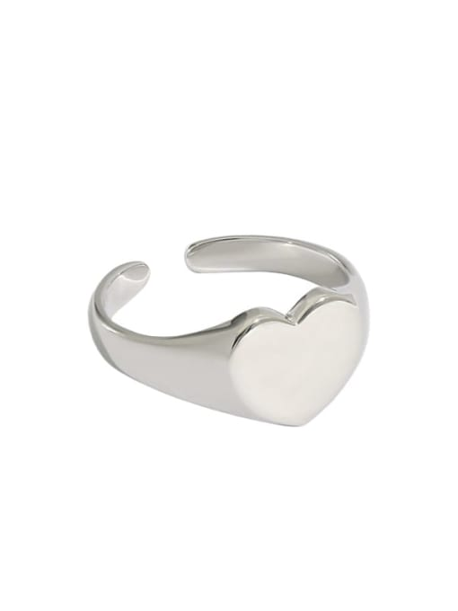 Platinum [13 adjustable] 925 Sterling Silver Heart Minimalist Band Ring